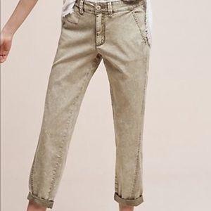 Anthropologie Chino cropped Slim pants Sz 32 NWOT
